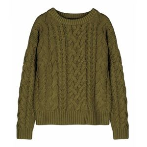 525 America Olive Green Braid Pattern Sweater